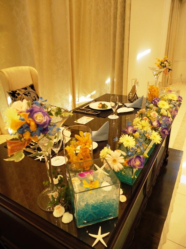 Sea side weddingがテーマの会場装花♪