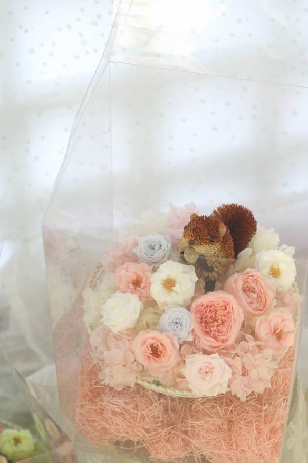 ご両親贈呈の花のギフト ウサギとリス付で_a0042928_07531.jpg