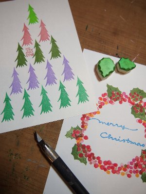 消しゴムはんこでクリスマスカード♪_f0224568_2043661.jpg
