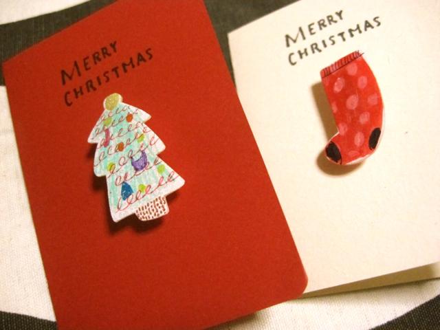 プラ板ブローチのクリスマスカード。_e0185385_162198.jpg