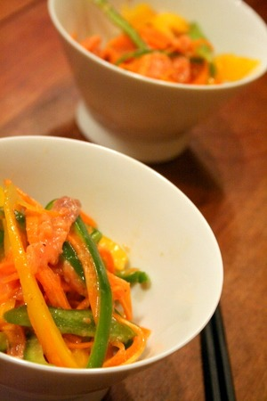 【1番レシピ】スモークサーモンとパプリカの彩りサラダ_f0141419_728553.jpg