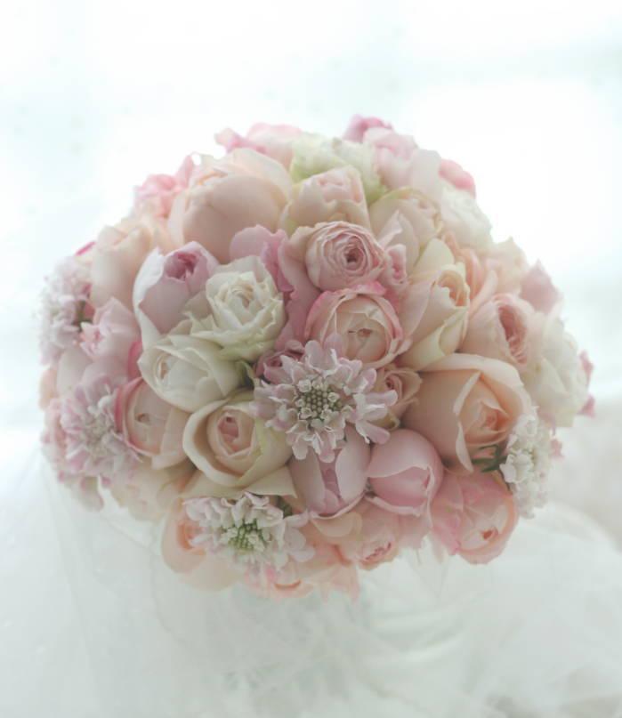 6つにシェアできるブーケと花冠 シュガーピンク 浦安ブライトンホテル様へ_a0042928_23152797.jpg