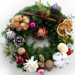 クリスマスリースのレッスン。_a0118355_18124585.jpg