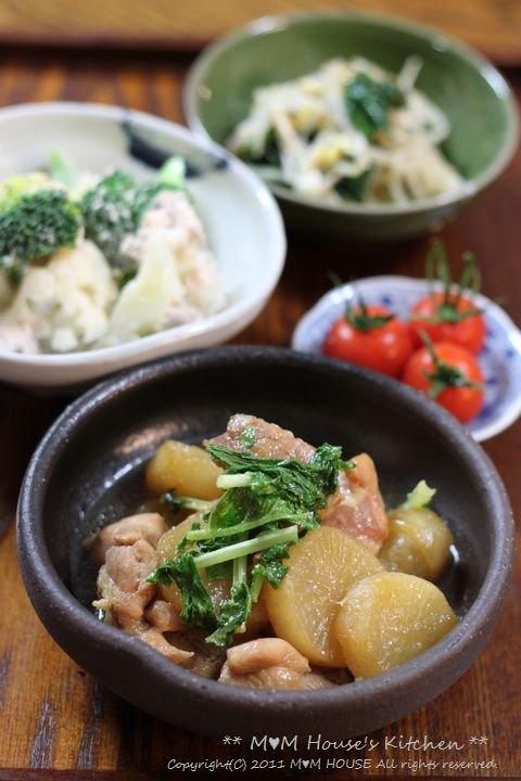 こんにゃくチャプチェ弁当 ☆晩ご飯は、大根と鶏肉のこってり煮♪_c0139375_1215643.jpg