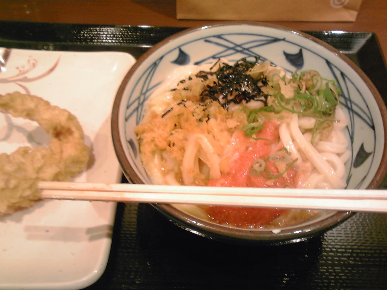 丸亀製麺の明太釜玉うどん_e0155231_21565356.jpg