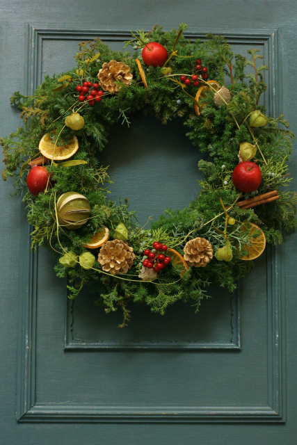 一会スクール12月 そしてクリスマスのリース1 モミリース編_a0042928_1184254.jpg