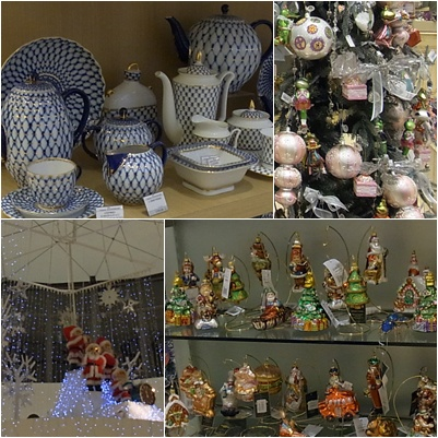 陶磁器とクリスマスの飾り