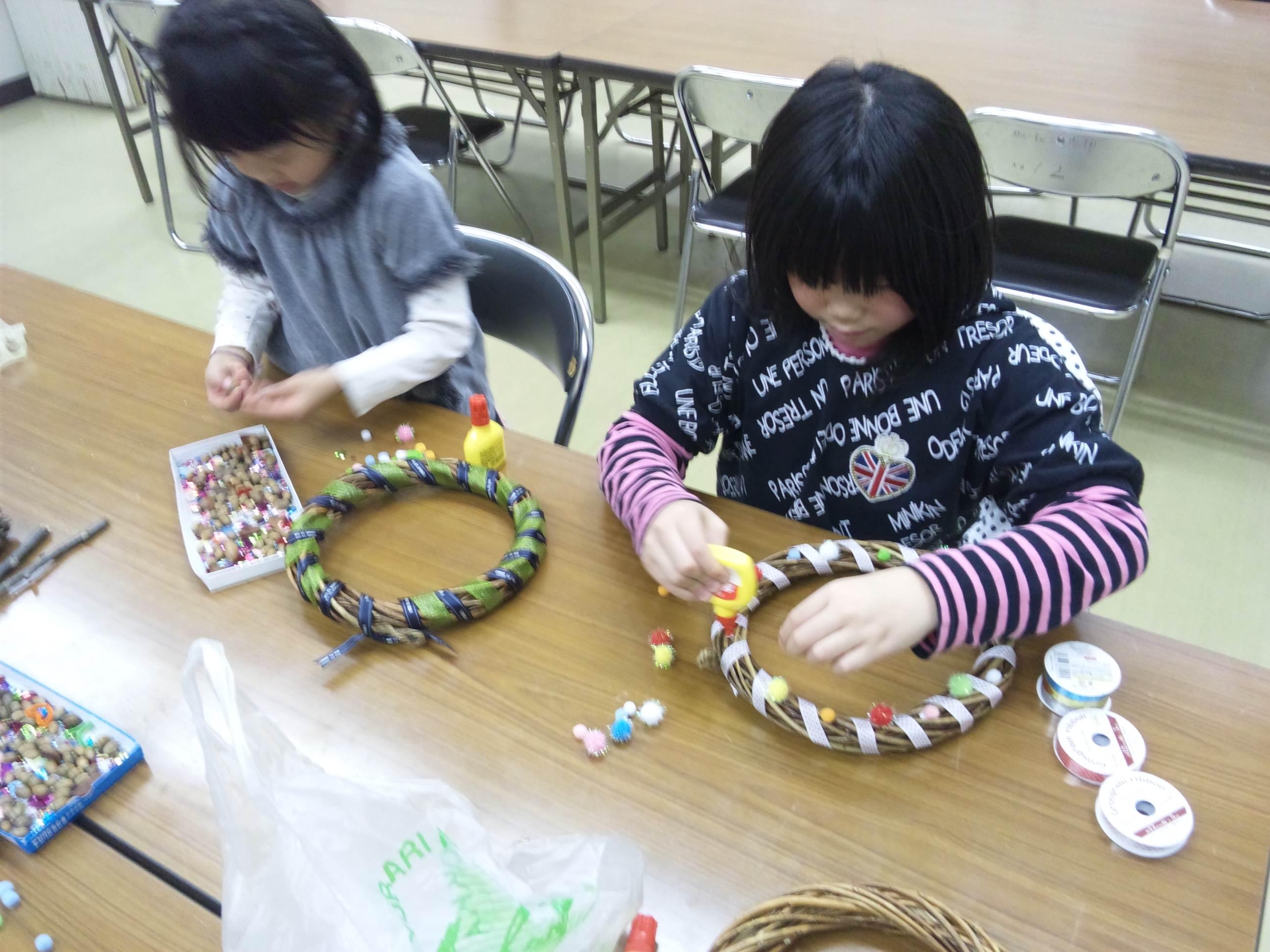クリスマス工作 リース~城陽教室~_f0215199_22135821.jpg