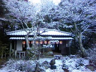 雪の舞う楽庵_c0122270_6295536.jpg