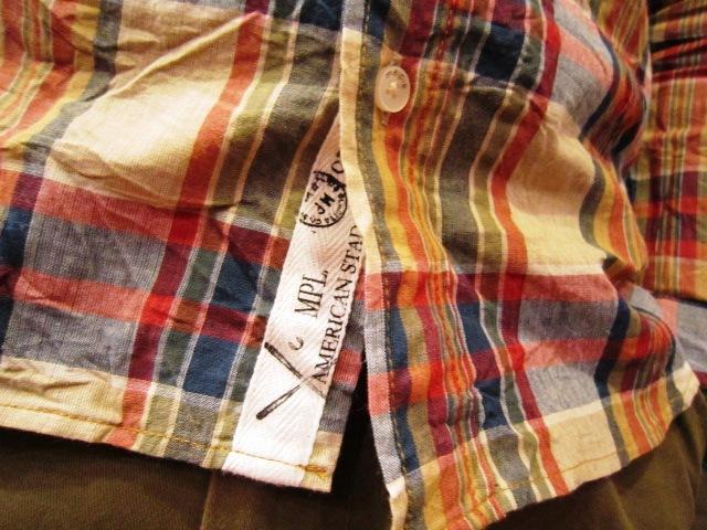 "melple \""マドラスチェック B/Dシャツ\"" ご紹介_f0191324_94168.jpg"