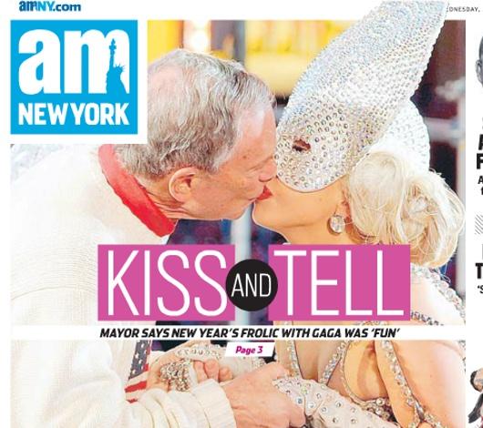 ブルームバーグNY市長とレディ・ガガさんのキス写真が地元紙の一面に_b0007805_0284962.jpg