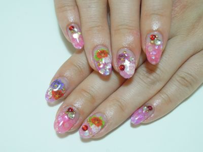 Pink Flower Nail_a0239065_2125028.jpg