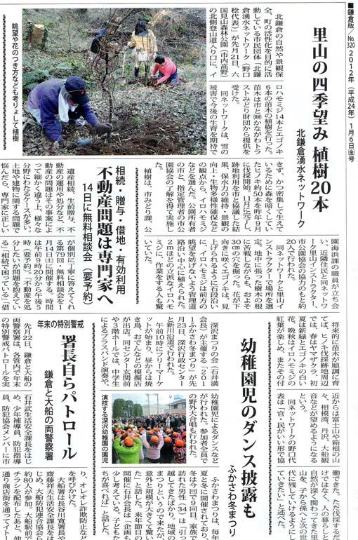 タウンニュース、六国見山へのモミジの植樹について報道_c0014967_7585537.jpg