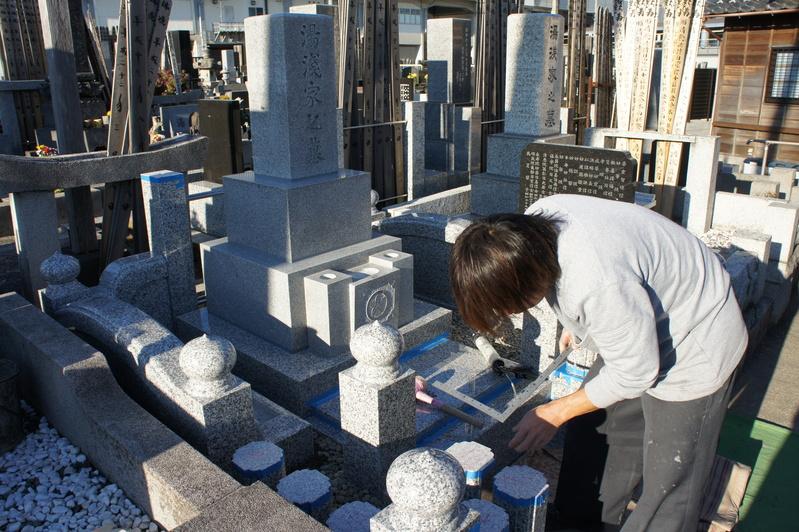 Y家様 墓所リフォーム工事~据付工事②~  2011.12.17_e0223769_20225396.jpg