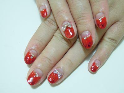 Red Ribbon Nail_a0239065_17512795.jpg