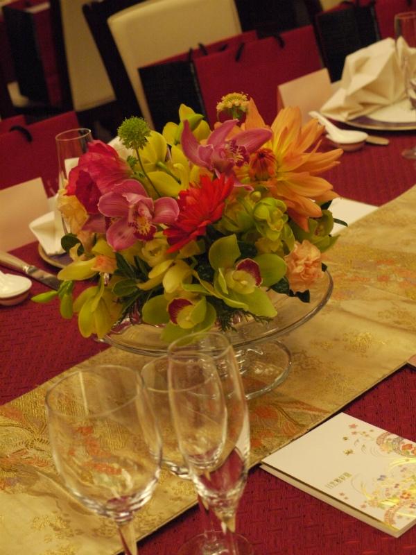 会場装花 おまかせで、和の装花 目黒雅叙園様へ_a0042928_22294815.jpg