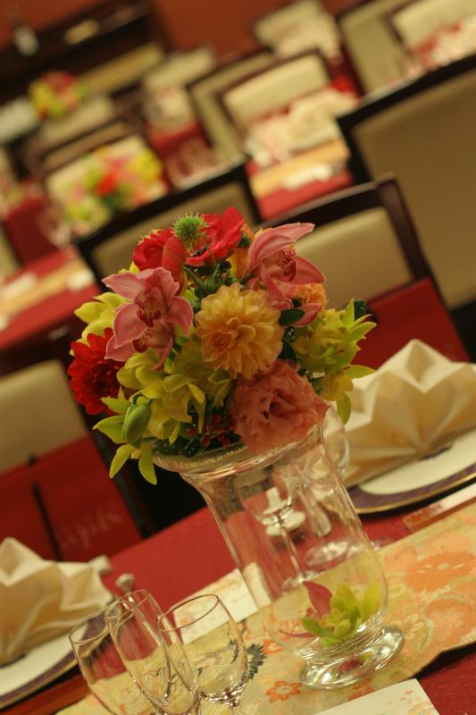会場装花 おまかせで、和の装花 目黒雅叙園様へ_a0042928_22305630.jpg