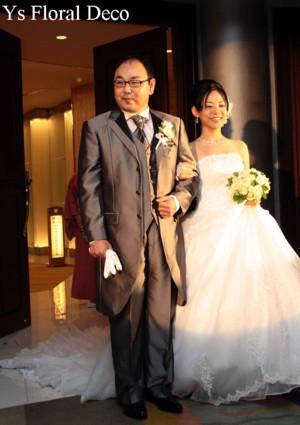 白とグリーンのクラッチブーケ 水天宮ロイヤルパークホテルさんへ_b0113510_13185745.jpg
