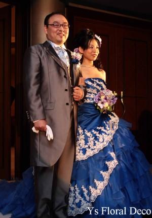 青いドレスに青と紫のラウンドブーケ & 子供用リストレット_b0113510_13204754.jpg