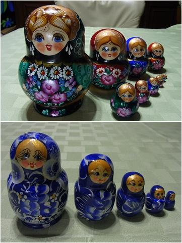マトリューシカ(上1200ルーブル、150ルーブル)