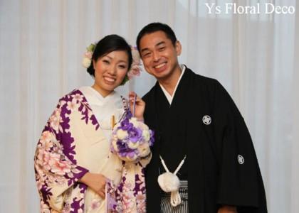 和装ボールブーケ 紫色のお着物に_b0113510_14561437.jpg