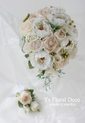 ころんとしたお花のティアドロップブーケ ウェスティンホテルのおふたりに_b0113510_1532614.jpg