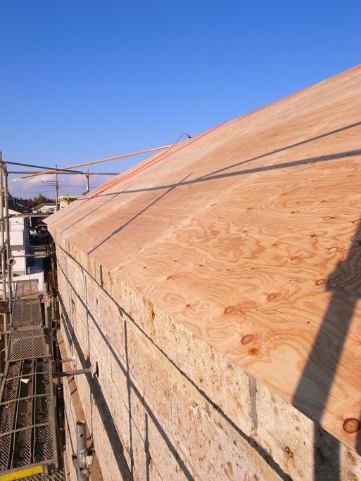 Sさんの家 石倉補修工事 屋根下地施工中 2012/1/28_a0039934_17251868.jpg