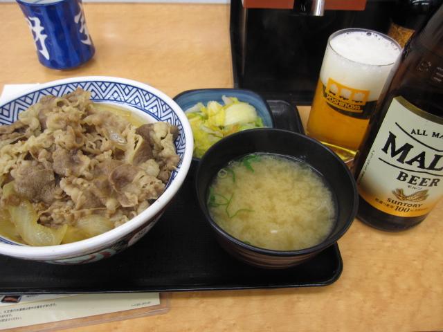 牛丼大盛りお新香セット+瓶ビール中@吉野家_b0042308_22502236.jpg