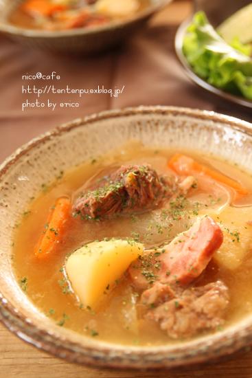 牛すじ肉の下ごしらえ~☆ ポトフマスタード醤油風味_f0192151_22313633.jpg