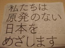 脱原発宣言:中沢さん、内田さんらが毎日新聞に意見広告_d0235522_2043953.jpg
