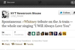 NYの地下鉄車内で乗客たちがホイットニー・ヒューストンさんを偲んでI will always love youを合唱_b0007805_953924.jpg