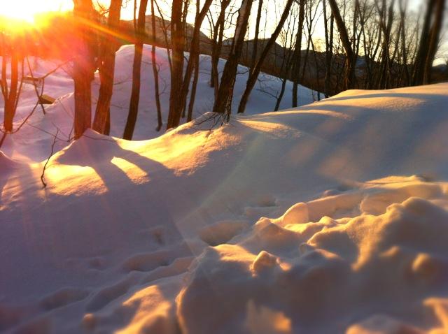 雪と夕日_c0048494_23272170.jpg