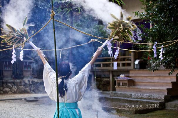 湯立て神事 葛城御歳神社にて Steam Blow Ceremony._e0245846_1222325.jpg