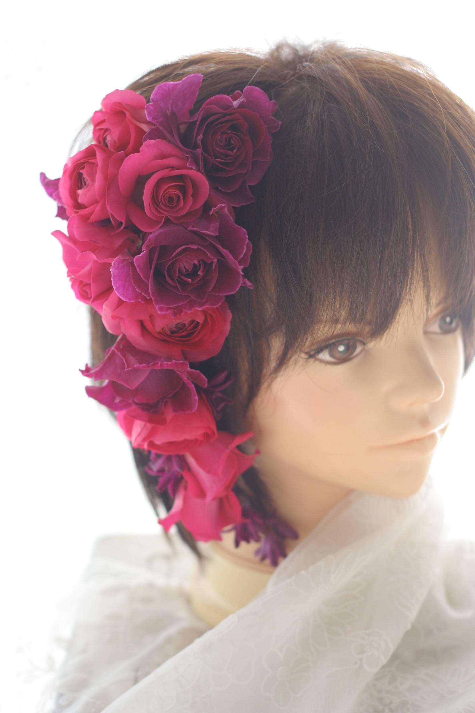 ダウンスタイルの花のヘッドドレスとリストブーケ 目黒雅叙園様へ_a0042928_2393473.jpg