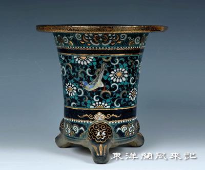 楽焼鉢「五柳万年青鉢」              No.436_b0034163_1082284.jpg