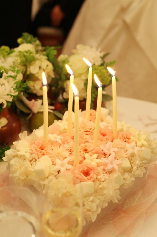 新郎新婦様からのメール サプライズのバースデイケーキの花 オーベルジュ・リル・トーキョーさまへ_a0042928_23391291.jpg