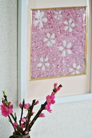 メタルビーズ桜の額 完成しました。_b0048834_1611209.jpg