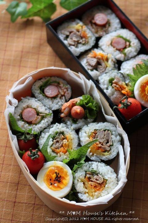 韓国風海苔巻弁当 ☆ 鯖のネギ味噌グリル焼き♪_c0139375_1152770.jpg