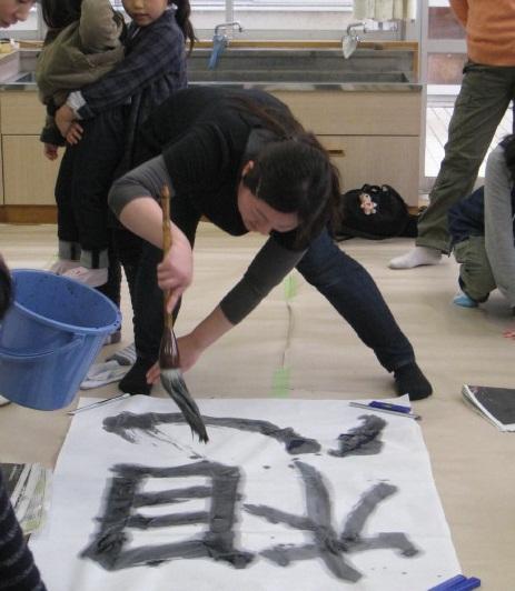 朝霞市放課後子ども教室筆と墨であそぼう(平成23年度第12回)_d0168831_2402470.jpg