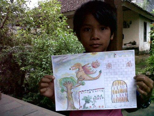 昨日は母の誕生日。ナミちゃんが絵を描いてくれました。_a0120328_23292546.jpg