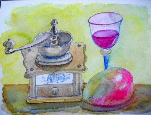 2012年3月14日(水)水彩画完成とチーズケーキ!_f0060461_13374736.jpg