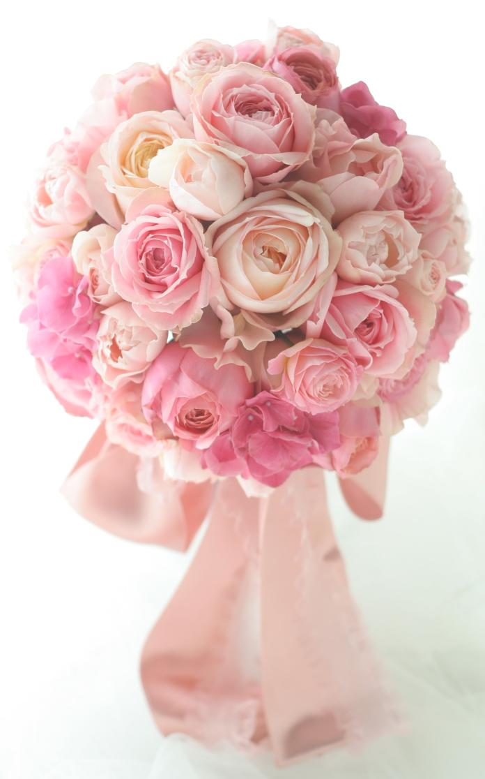 ラウンドブーケ ピンクのバラだけで ウエスティンホテル東京さまへ_a0042928_21475832.jpg