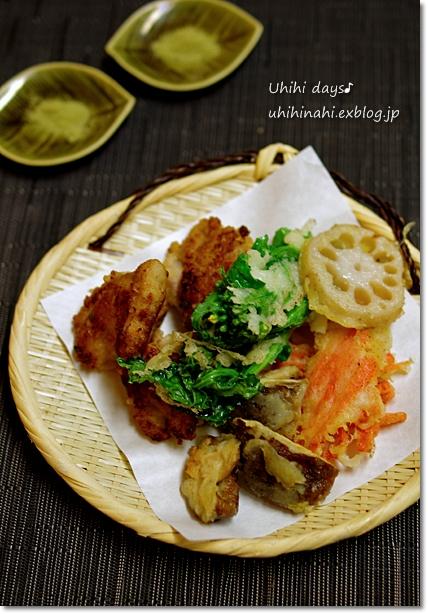 鶏唐揚げと菜の花のてんぷら_f0179404_21164388.jpg