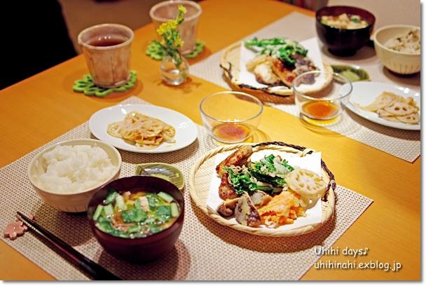 鶏唐揚げと菜の花のてんぷら_f0179404_2122221.jpg