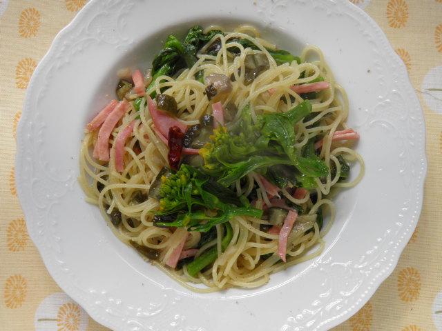 チンゲン菜の花で和風ペペロンチーノ_e0159969_18145071.jpg