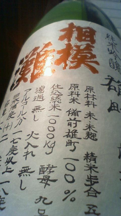 【日本酒】 相模灘 槽場直詰 純米吟醸 無濾過生原酒 山田錦 限定 23BY_e0173738_1024324.jpg