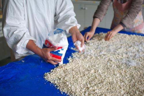味噌作り2012 3日目~米麹の塩切り、大豆をすりつぶす、味噌玉~_c0110869_7581387.jpg