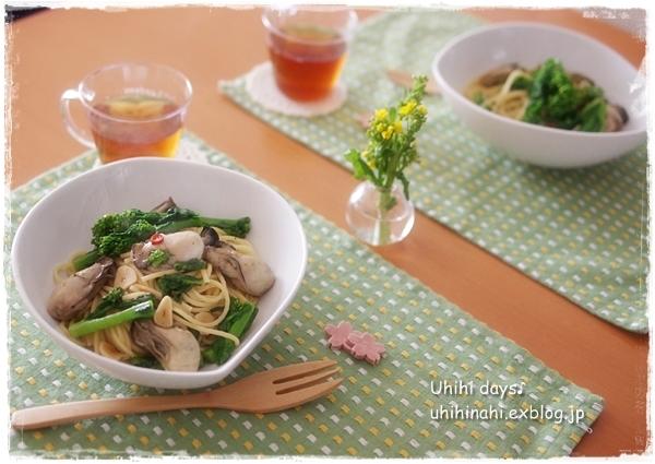 牡蠣のオイル漬けと菜の花のスパゲティ_f0179404_21275015.jpg