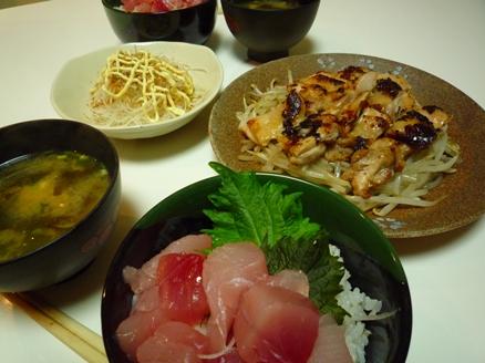 おうちご飯 塩麹と うまくち醤油 de まぐろ丼&鶏モモ焼き~♪_e0123286_174598.jpg