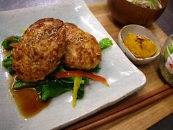 3/30晩ごはん:照焼き豆腐ハンバーグ_a0116684_23153520.jpg